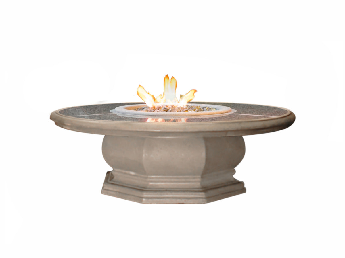 American Fyre Designs Chat Height Octagon Firetable with Granite Inset - Fire Pit Oasis