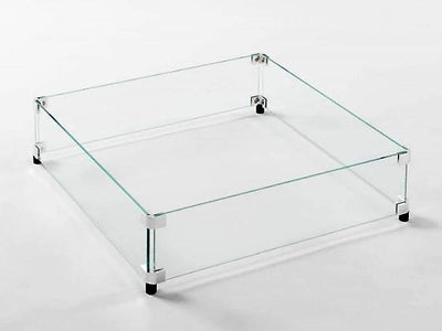 American Fyre Designs Glass Wind Guard For Square Fire Tables - Fire Pit Oasis