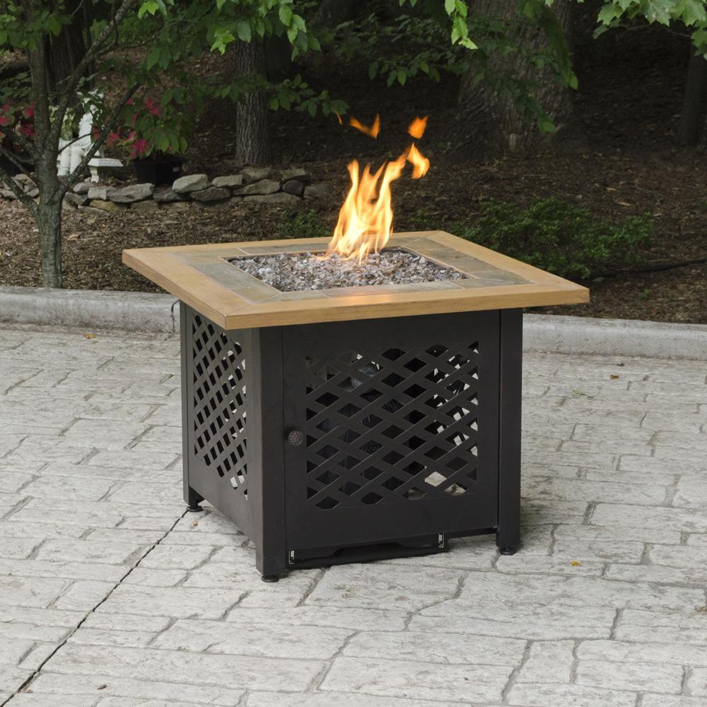 Endless Summer LP Gas Outdoor Fire Pit with Slate and Faux Wood Mantel GAD1391SP - Fire Pit Oasis