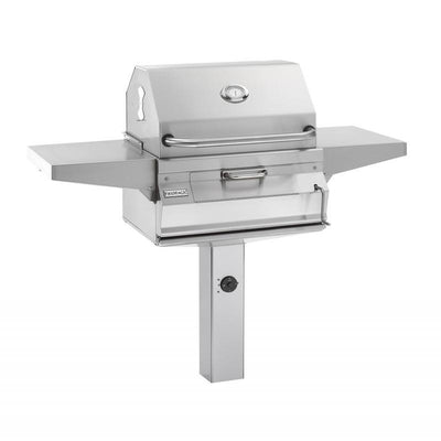 "Fire Magic Legacy 24"" Charcoal In Ground Post Mount Grill with Smoker Hood - Fire Pit Oasis"