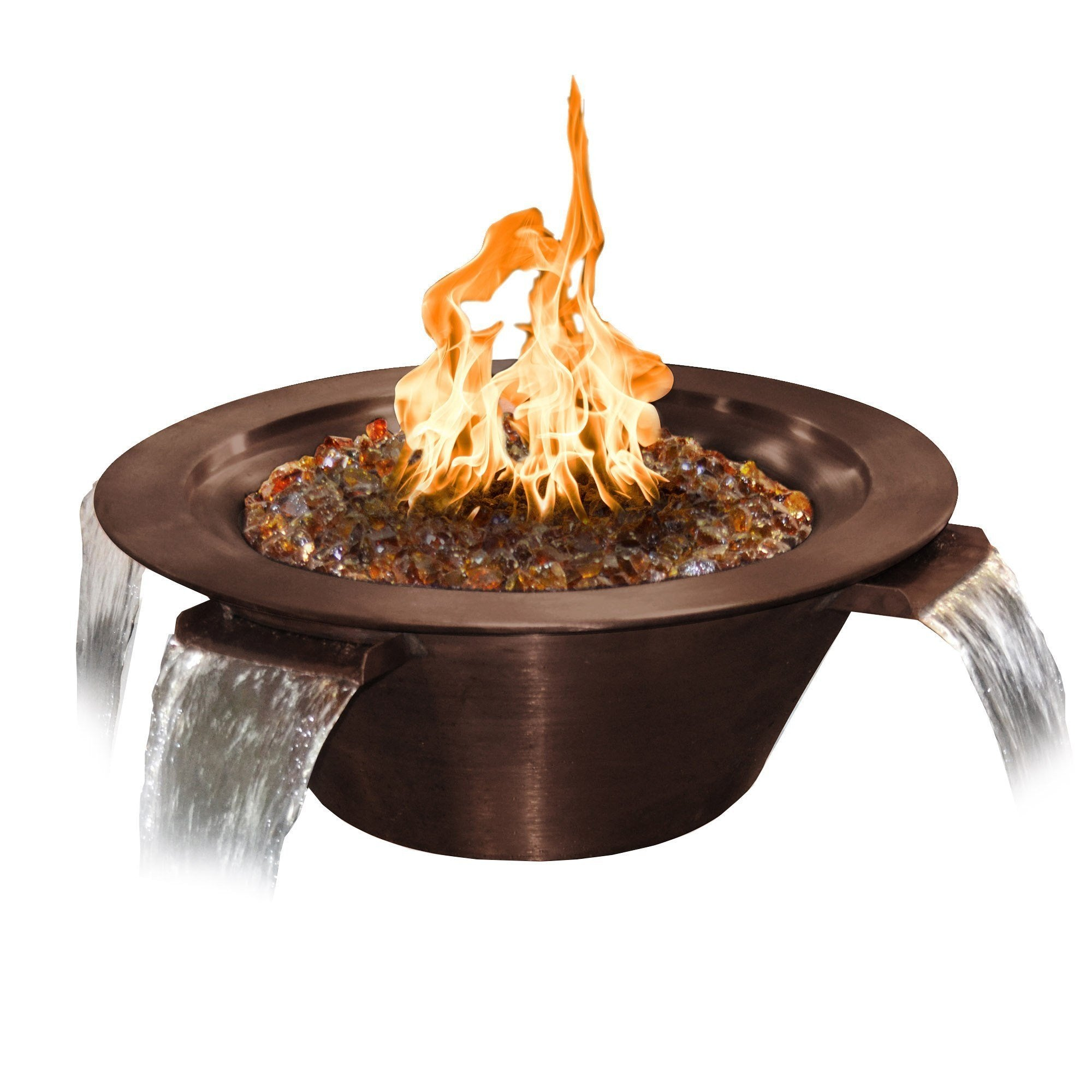 "TOP Fires by The Outdoor Plus Cazo 4-Way Copper Water & Fire Bowl 36"" - Fire Pit Oasis"