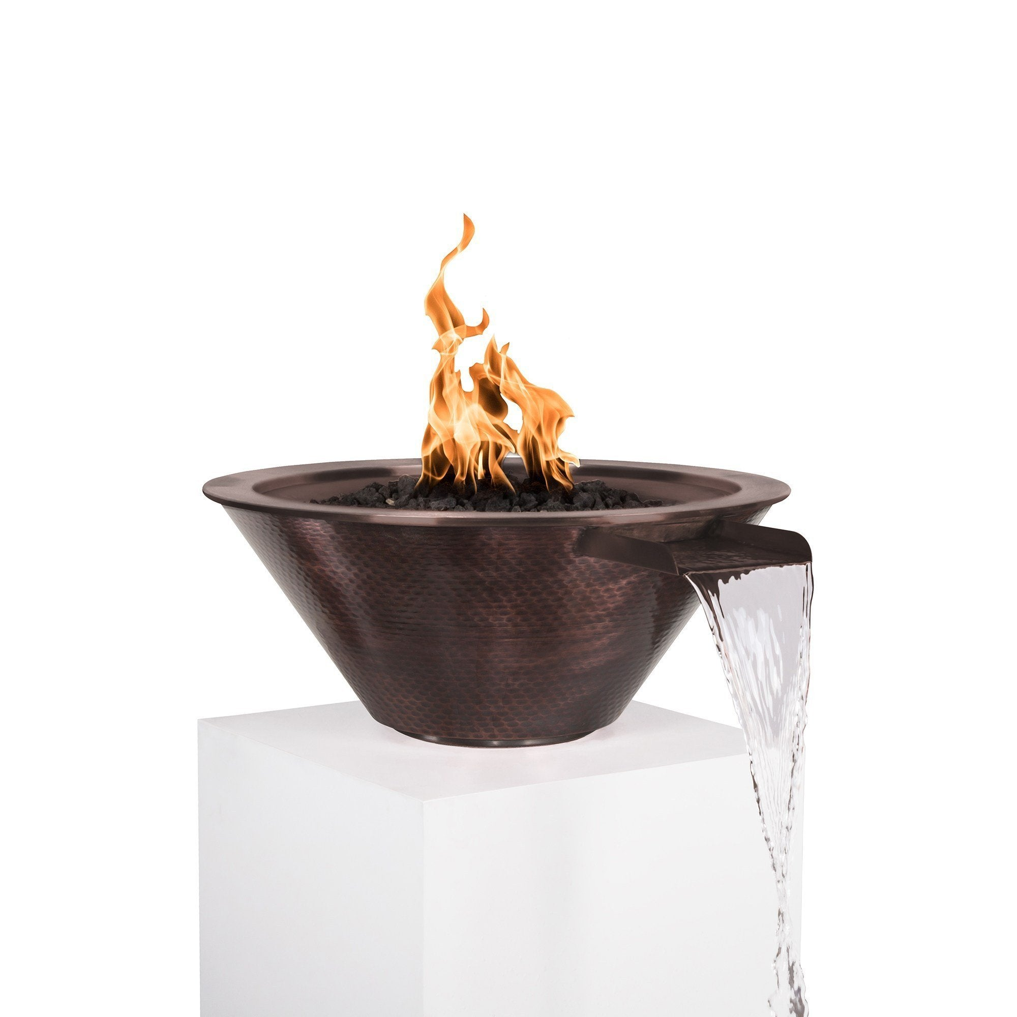 "TOP Fires by The Outdoor Plus Cazo Hammered Patina Copper Fire & Water Bowl 36"" - Fire Pit Oasis"