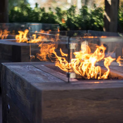 "TOP Fires by The Outdoor Plus Glass Wind Guard 50"" x 50"" - Fire Pit Oasis"