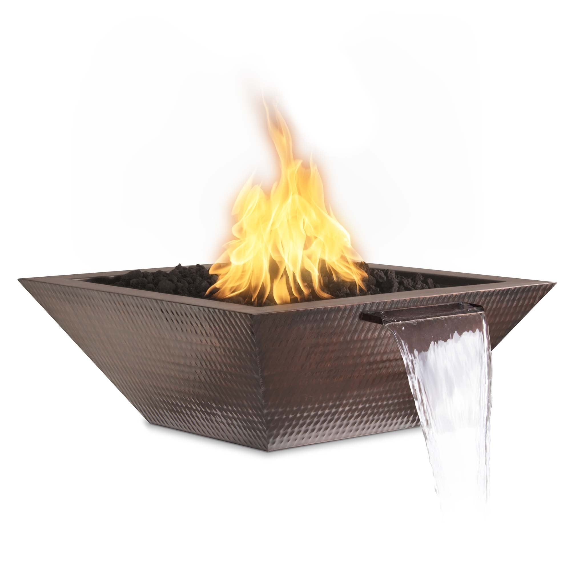 "TOP Fires by The Outdoor Plus Maya Hammered Patina Copper Fire & Water Bowl 36"" - Fire Pit Oasis"