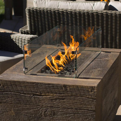 "TOP Fires by The Outdoor Plus Rectangular Glass Wind Guard 31"" x 24"" - Fire Pit Oasis"