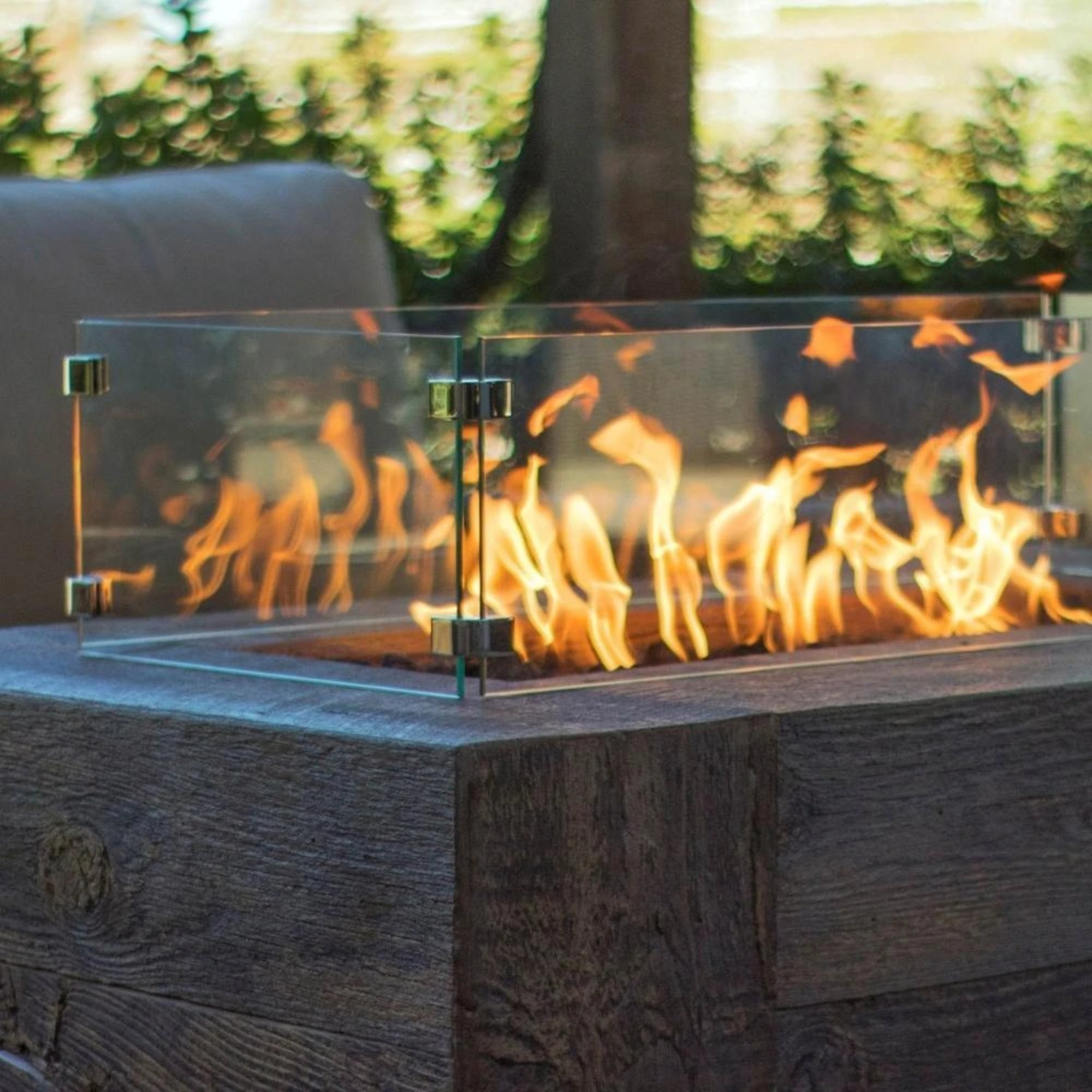 "TOP Fires by The Outdoor Plus Rectangular Glass Wind Guard 92"" x 20"" - Fire Pit Oasis"