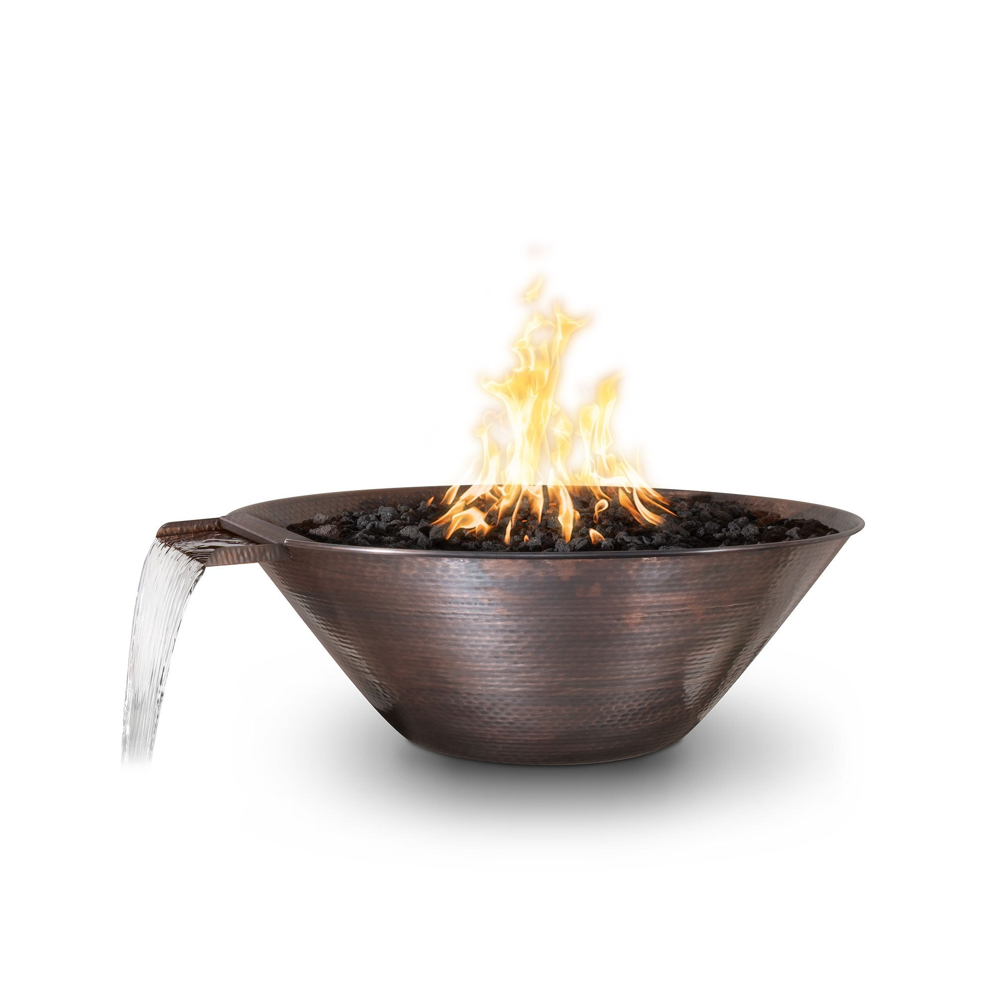 "TOP Fires by The Outdoor Plus Remi Hammered Patina Copper Fire & Water Bowl 31"" - Fire Pit Oasis"