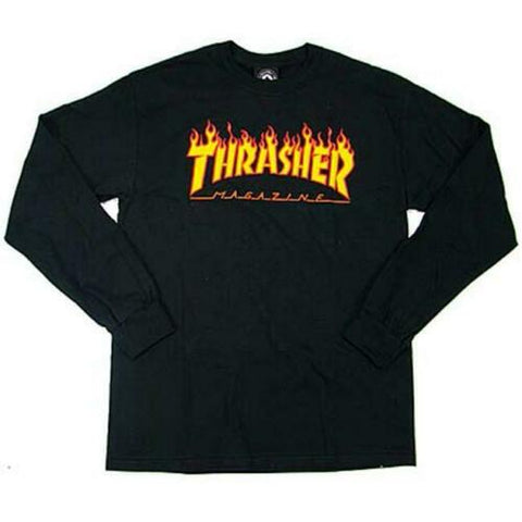 THRASHER Small Flame Logo Long Sleeve Tee - Black