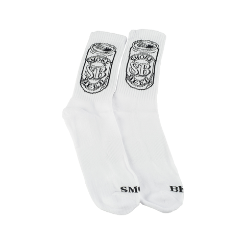 SMOKE BEER Can Logo Socks - White
