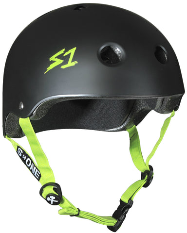 S-ONE Lifer Helmet - Black Matte/Green Strap