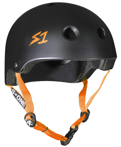 S-ONE Lifer Helmet - Black Matte/Orange Strap