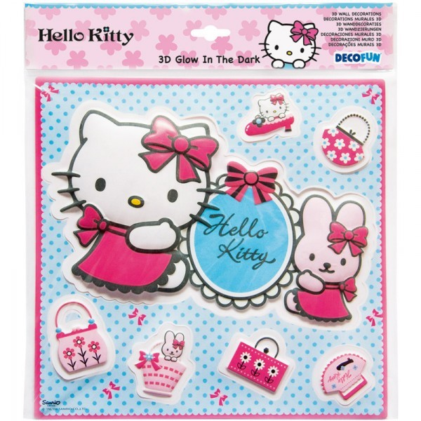 Decorazioni adesive glow 3d hello kitty fashion misura m grande