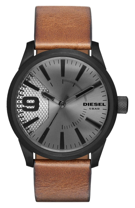 Diesel 'The Rasp' Leather Strap Watch