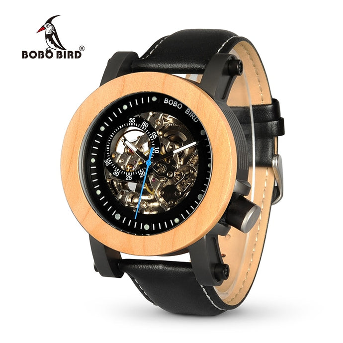 BOBO BIRD WK14 Men's Steampunk Bronze Luxury Skeleton Leather Watch