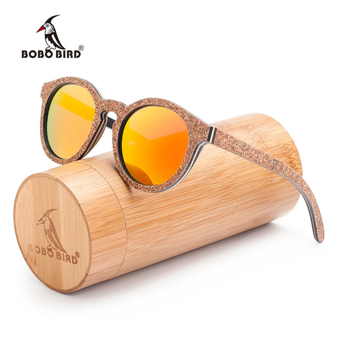 BOBO BIRD Women's Handwork Retro Wood Sunglasses