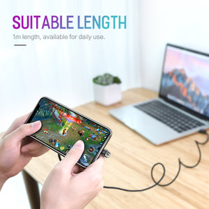 ROCK 180 Degree U-Shaped Lighting USB Braided 2.1A Fast Charging Cable
