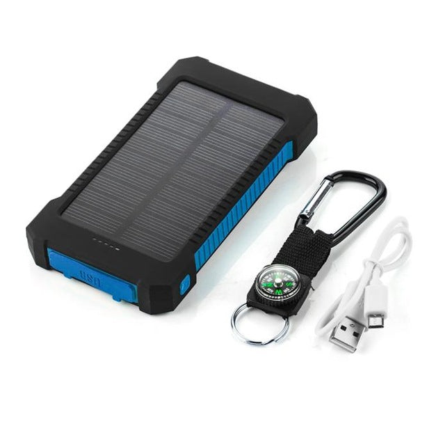 Waterproof Dual-USB Solar Power Bank 10000mah