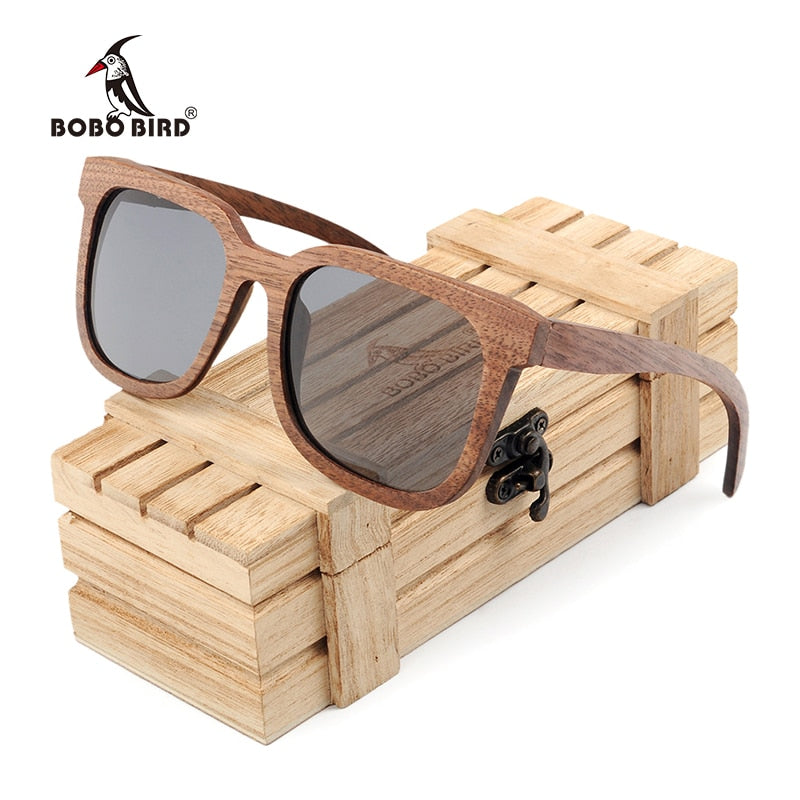 BOBO BIRD Black Walnut Polarized Wooden Sunglasses