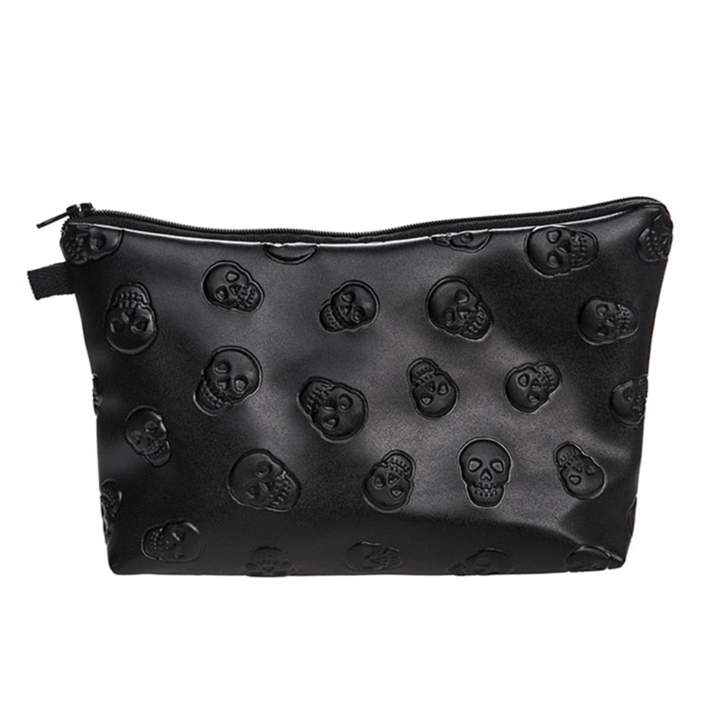Skull Embossed Waterproof Makeup Bag