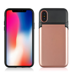 Dual Layer 3-in-1 Shockproof Phone Case with Mirror - iPhone X