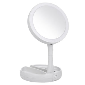 Portable Double-Sided LED Makeup Mirror