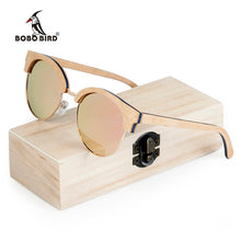 Load image into Gallery viewer, BOBO BIRD Wood Half-Frame Polarized Sunglasses