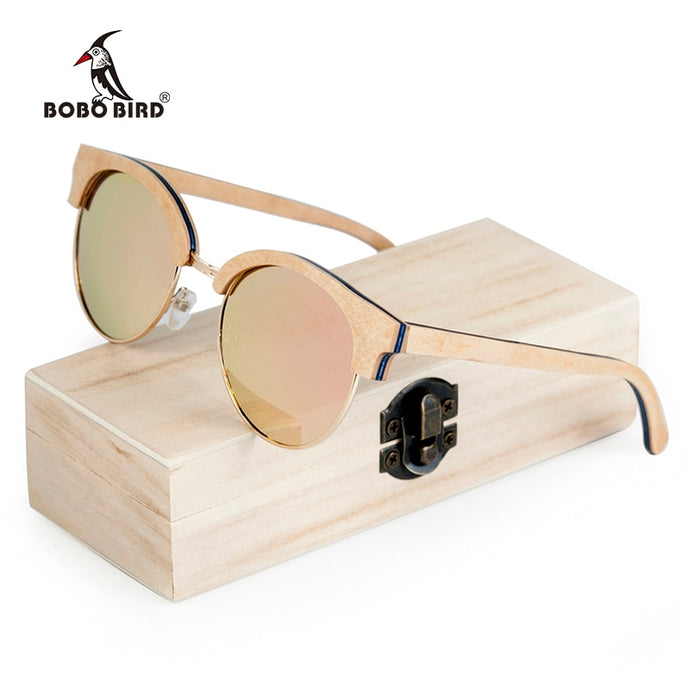 BOBO BIRD Wood Half-Frame Polarized Sunglasses