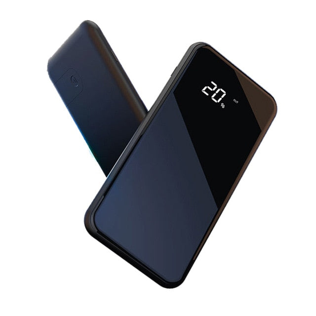 LCD Dual USB 10000mAh Qi Wireless Charger Power Bank