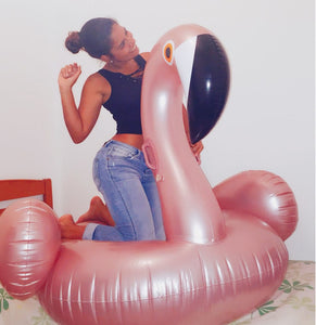 Giant Rose Gold Inflatable Flamingo Pool Float