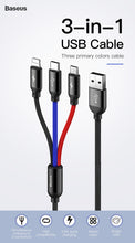 Load image into Gallery viewer, Baseus 3-in-1 (Micro USB, Type-C, iPhone) USB Fast Charge Cable