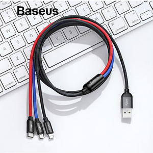 Baseus 3-in-1 (Micro USB, Type-C, iPhone) USB Fast Charge Cable