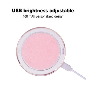 LED Lighted Travel Folding Makeup Mirror