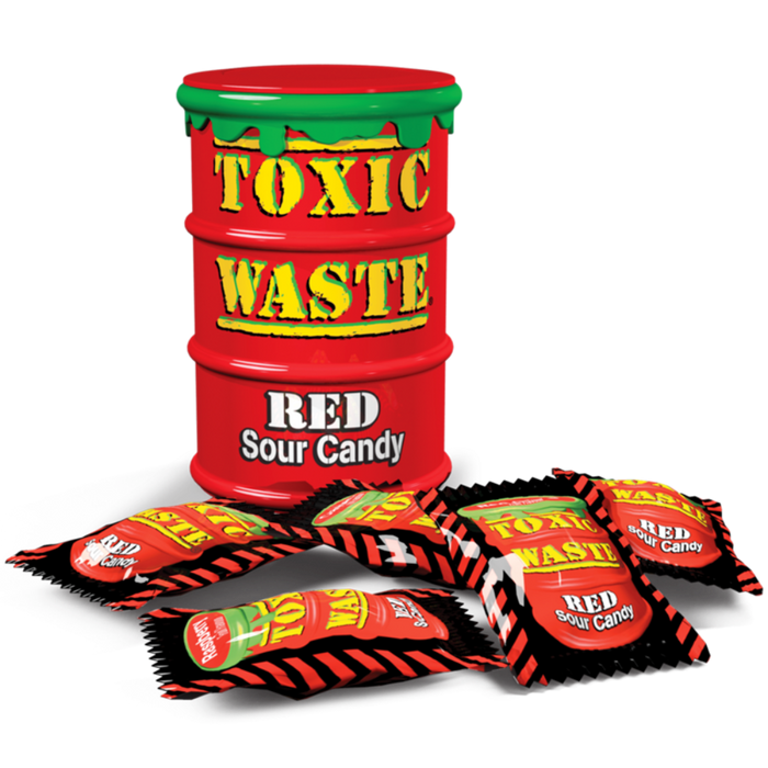 TOXIC WASTE RED DRUM EXTREME SOUR CANDY (42 g) - AffamatiUSA