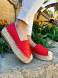 Espadrillas in eco-pelle rosse