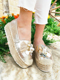 Espadrillas Gold con conchiglie