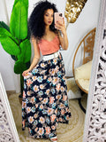 Maxi gonna in raso con fiori multicolore