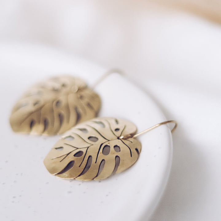 Finders and Makers Energising Montsera Leaf Earrings