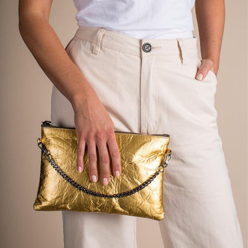 Ahimsa Collective Clutch Courage Gold Piñatex