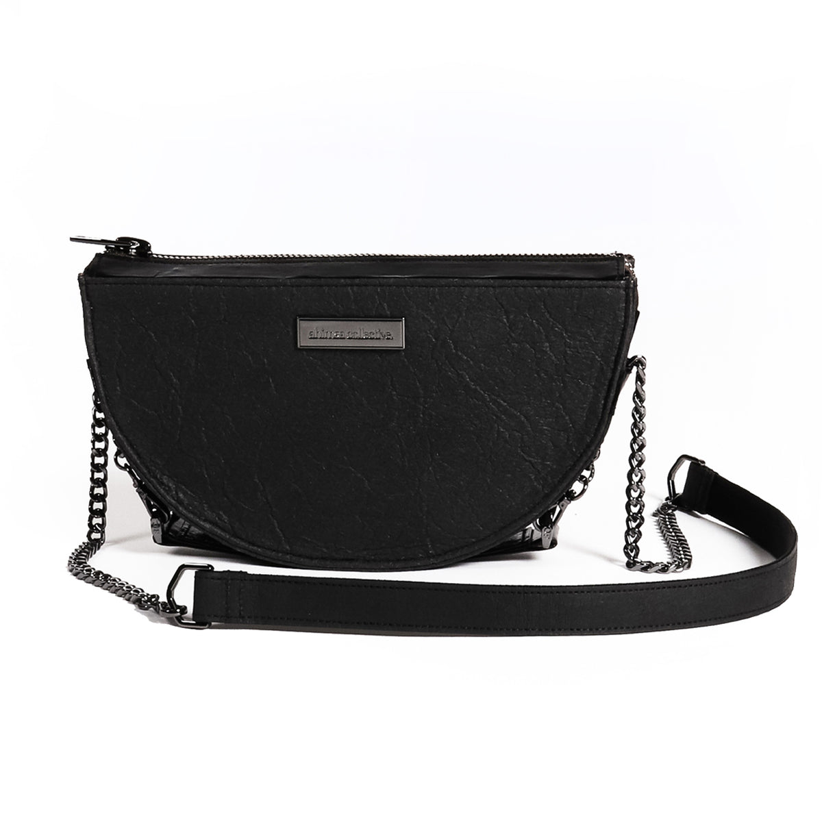 Ahimsa Collective || Half Moon Mini Bag Smoke Gunmetal