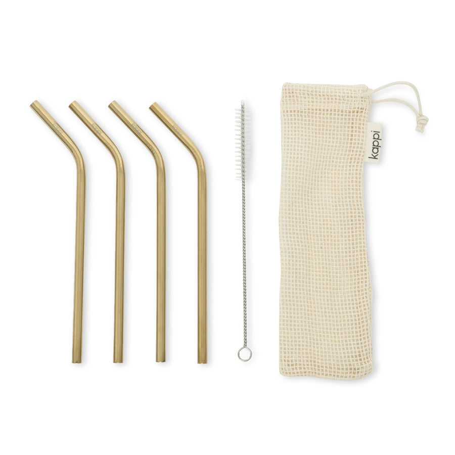 Kappi Gold Stainless Steel Straws - Bent 4-pack