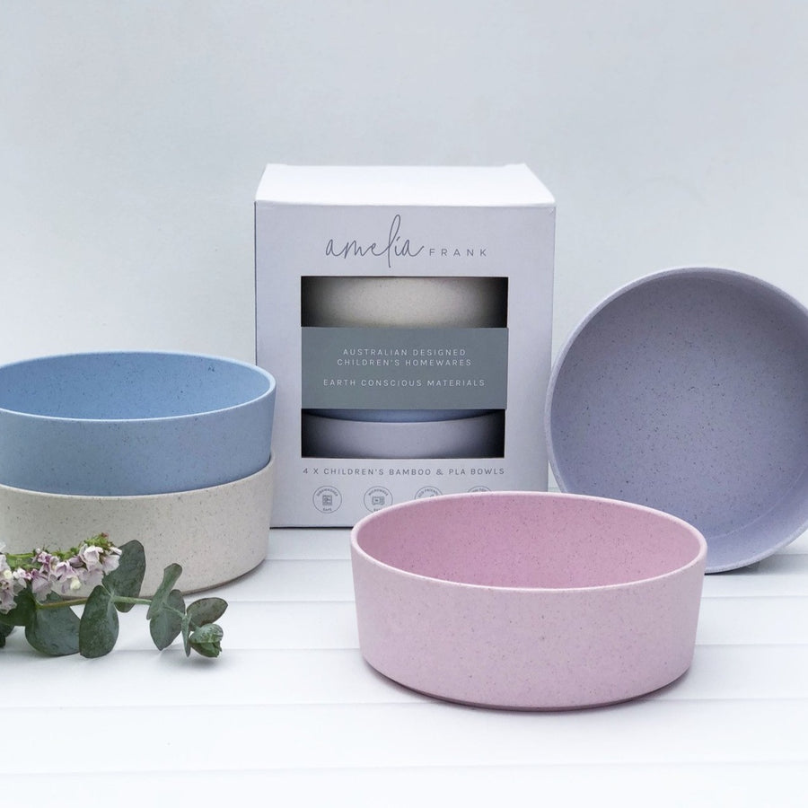 Amelia Frank Children's Bamboo Dinnerware - Bowls - 4 Colours - 4 Pack