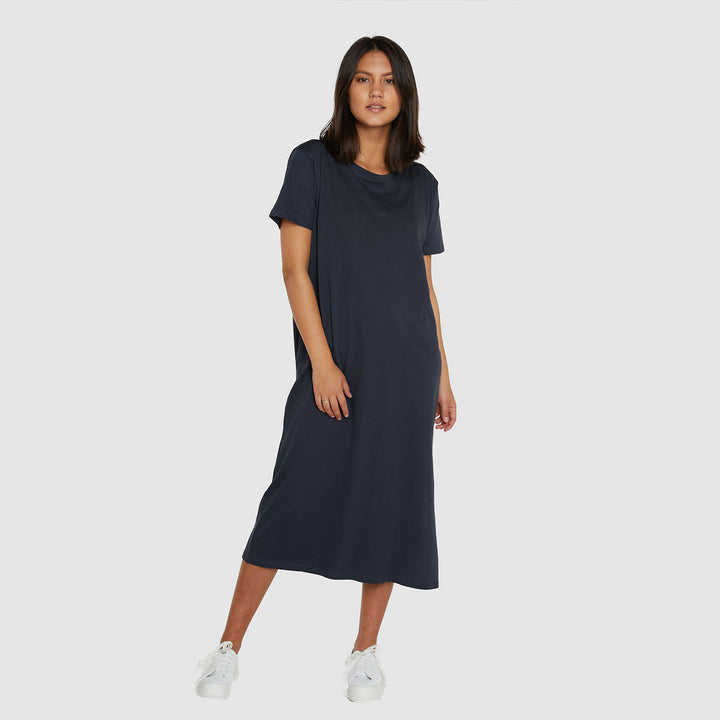 Boxy Organic Cotton T-Dress - Graphite