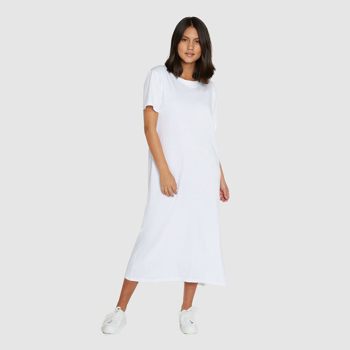 Boxy Organic Cotton T-Dress - White