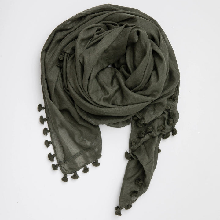 Cloth & Co. Pom Pom Scarf | Forest