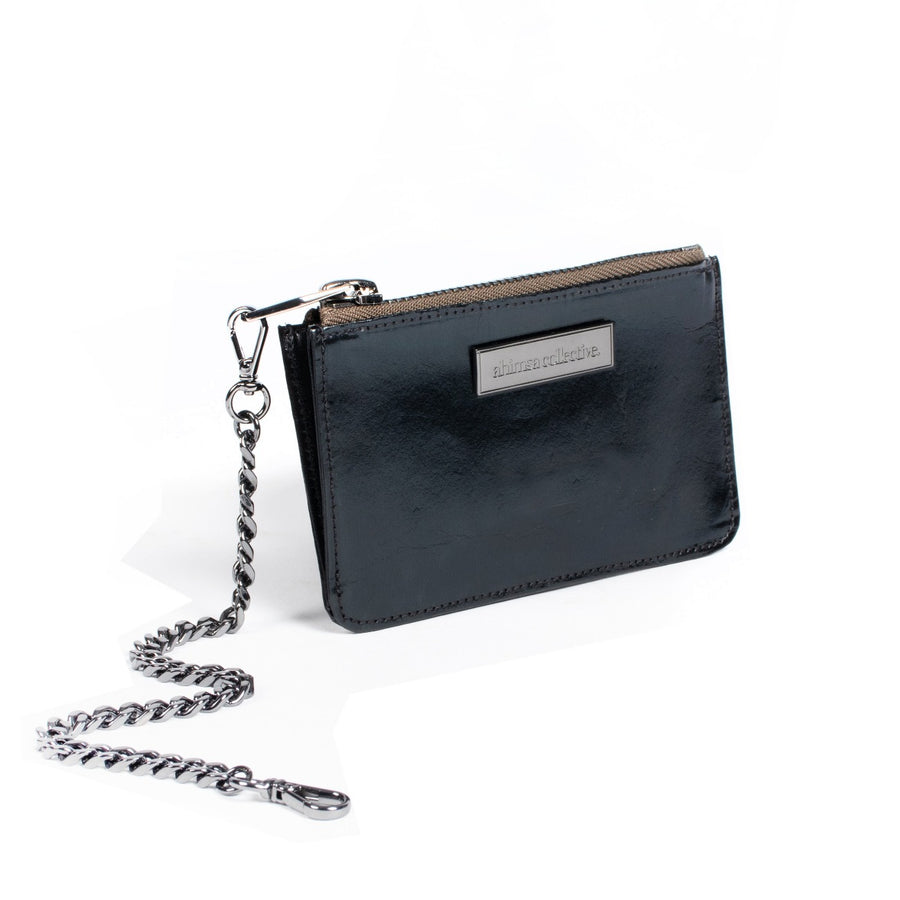 Ahimsa Collective Coin Purse - Black Patent Washable Paper - Gunmetal Hardware