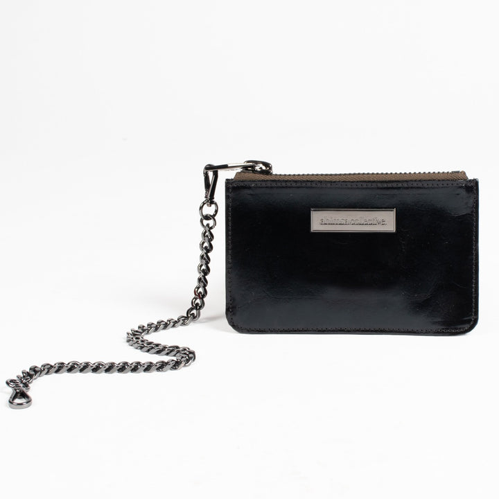 A_C Official Coin Purse - Black Patent Washable Paper - Gunmetal Hardware