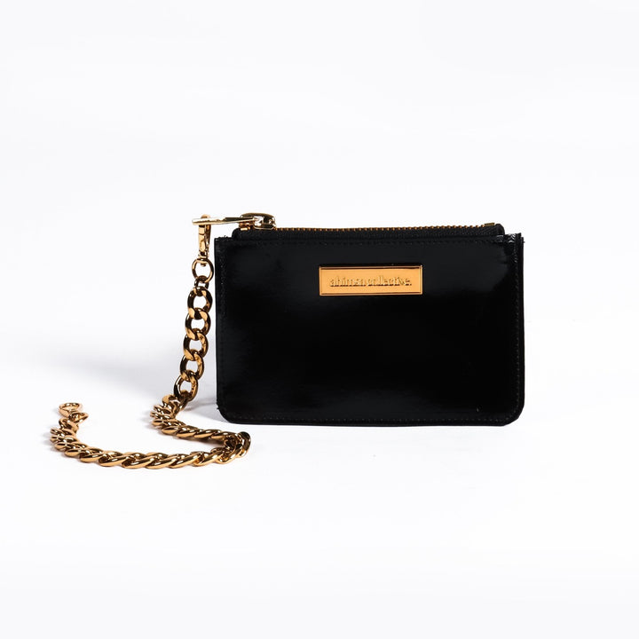 Ahimsa Collective Coin Purse - Black Patent Washable Paper - Gold Hardware
