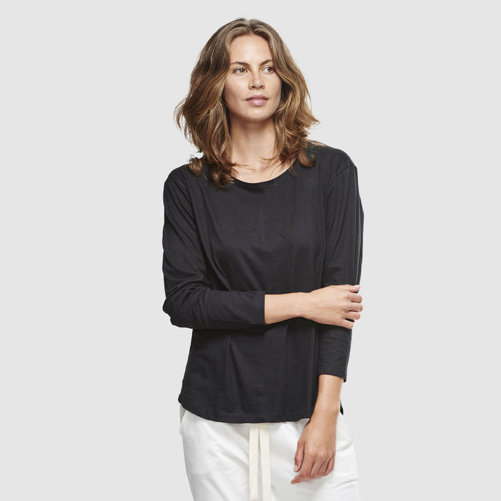 Crew Neck Long Sleeve Top (Black) by Cloth & Co. | Nash + Banks