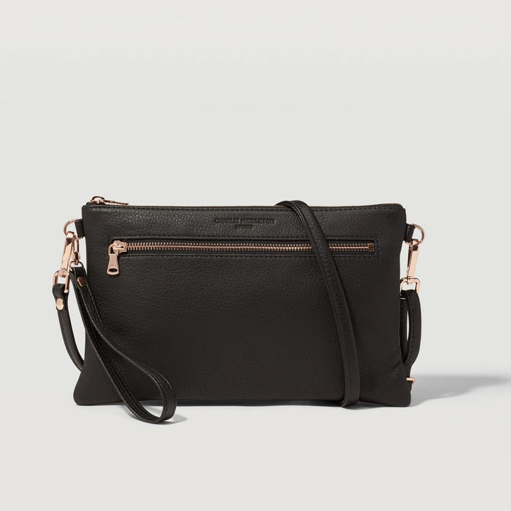 Black Nappa Dual Zip Crossbody Bag