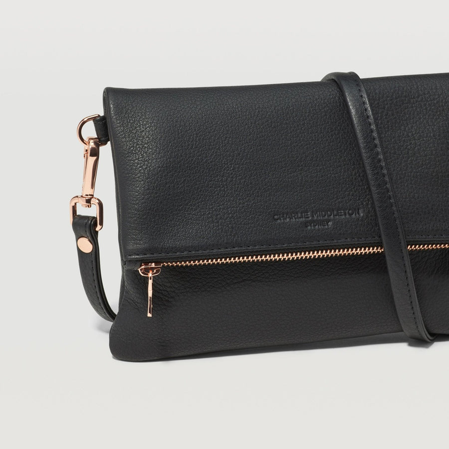 Black Nappa Mini Weekend Crossbody Bag